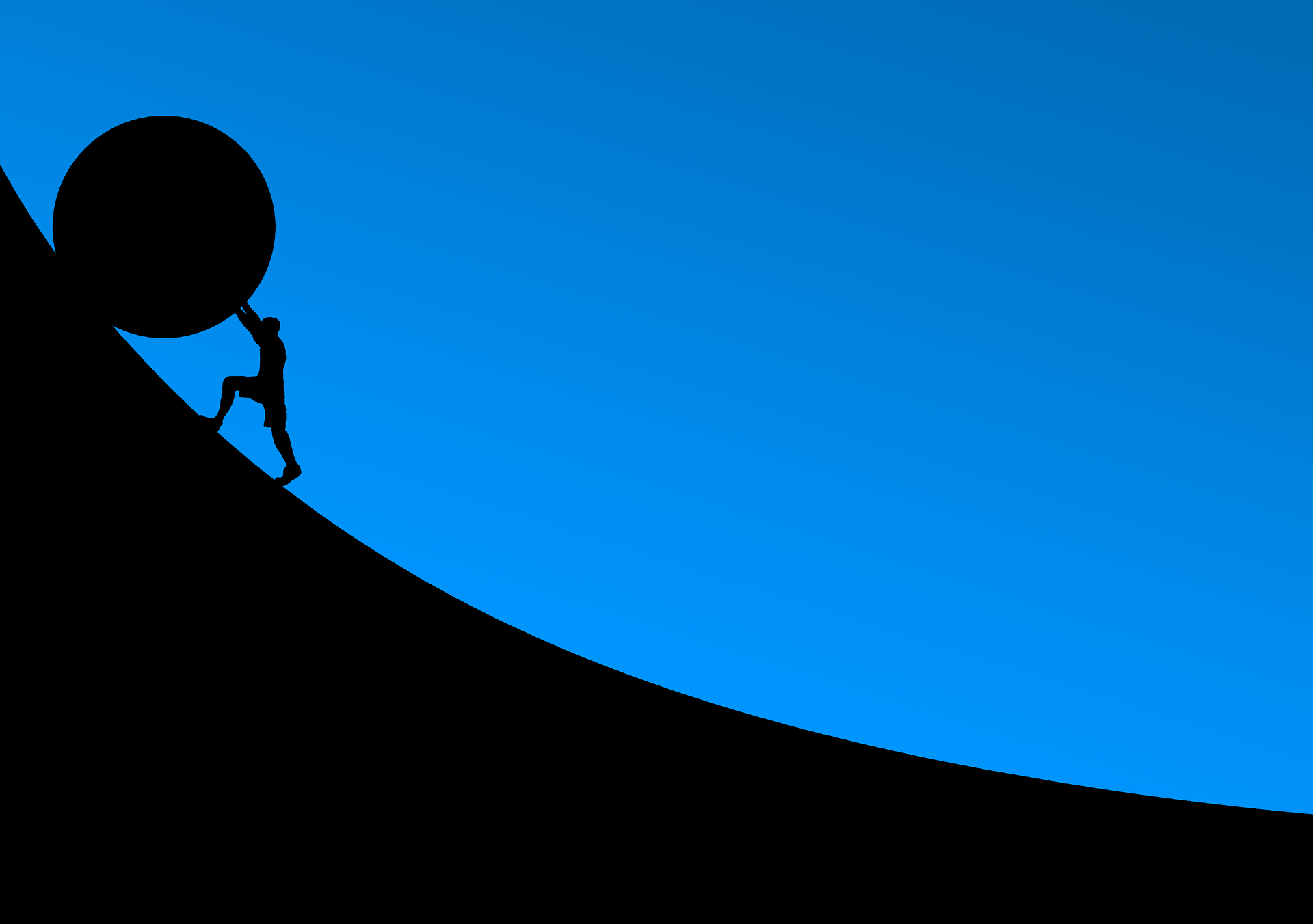 Man pushing a boulder up a hill